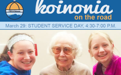 Koinonia on the Road Student Service Day – Sunday, March 29, 4:30-7:00 p.m.